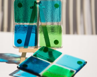 Fused Glass Coasters - set of two - turquoise, teal and green