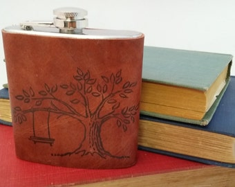 Flask, Personalized Flask, Leather Flask, Groomsmen Flask, Custom Flask, Free Shipping, Custom leather flask, Groomsmen gift, hip flask
