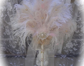 Exquisite Blush, Gold, Ivory and White Ostrich and Peacock Feather Fan BRIDAL Bouquet with Golden Details