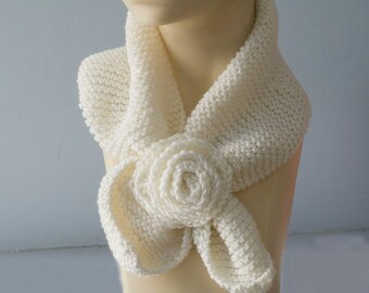 PDF Scarf Knitting Pattern Download, Neck Warmer,  Keyhole Scarf Pattern,   Crocheted Rose, Stay in Place Scarf, Self Tying Scarf