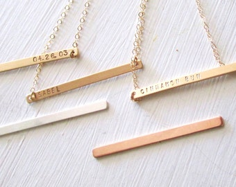 Skinny Nameplate Necklace, Personalized Necklace, Customized Name Necklace, Gold Name Bar, Gold Bar Necklace, Rose Gold Bar Necklace