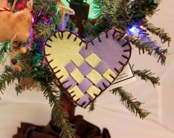 Woven Dutch Heart Ornie, Repurposed Wool and Burlap Lime Green and Lavender Ornament #500