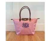Pale Pink - Personalized Bag - Medium Large Tote - Nylon fold up style - monogrammed FREE - Preppy gift