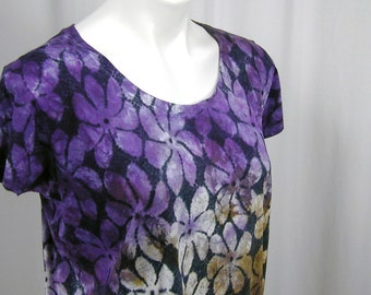 Tiare Flowers in Imperial Purple, Ivory, Bronze, and Black Atomic Lace Hand Dyed Bamboo Tee (large)