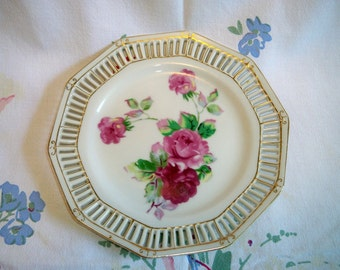 Vintage Roses Reticulated Porcelain Plate