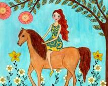Horse Art - Horse Print - Girl and Horse Painting - Children Wall Art - Kids Wall Art - Girls Nursery Wall Art - Horse Nursery - Horse Decor