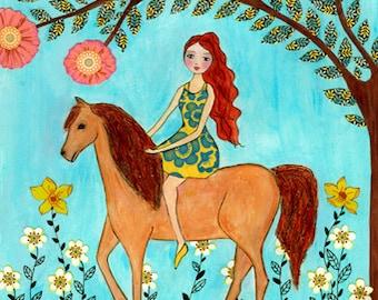 Horse Art Print, Horse Print, Girl and Horse Painting, Children Wall Art, Kids Wall Art, Girls Nursery Wall Art, Horse Nursery, Horse Decor