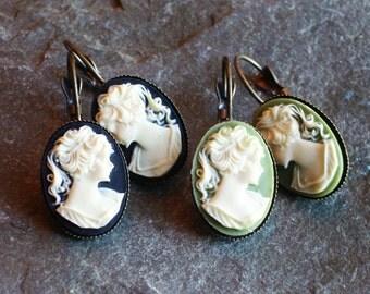 Cameo earrings, black cameo earrings, green cameo earrings, Irish cameo earrings, leverback earrings, cameo jewelry, gift ideas for mom