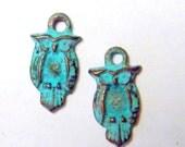 SALE! Greek Cast Owl Charm Green Patina Small Dangle Drops (6)