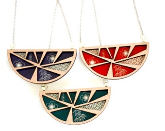 Tasmanian Myrtle Wood and Japanese Design Necklace - laser cut geometric timber and red, teal or purple pattern pendant with steel chain