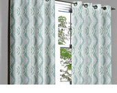 Aqua Highs & Lows Grommet Lined Curtain in Textured Jacquard Weave Fabric Decor and Housewares Window Treatment Drapes Curtain Panels