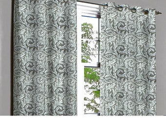 Platina Grey Feathers Grommet Blackout Lined Curtain in Textured Jacquard Weave Fabric Housewares Window Treatment Drapes Curtain Panels