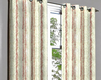 Rivalto Red Strokes Grommet Unlined Curtain in Textured Jacquard Weave Fabric Decor and Housewares Window Treatment Drapes Panels