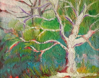 Park Trees 18 original abstract landscape oil painting