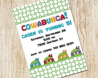 Ninja Turtles invitation- Boy's Birthday- Digial File, print yourself  OR PRINTED cards - Teenage Mutant Ninja Turtles Birthday Party TMNT