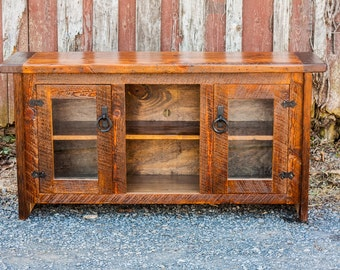 Heirloom Mission Style Antique Heart Pine Media Console