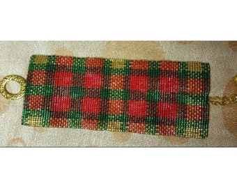 2 Patterns for 1 Price - Christmas Plaid Cuff Bracelets - Loom or 8 Drop Odd Peyote Bead Patterns