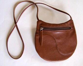 Brown Leather Purse - Crossbody Style Handbag- Medium Round Festival Bag