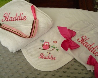 Haddie Personalized Hooded Towel Blanket Diaper Cover and a Pacfier Clip - Choice of Name or up to 3 initials
