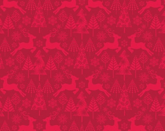 Blend Fabrics • Hip Holiday • Reindeer Stroll Red • Cotton Fabric 0.54yd (0.5m) 001773