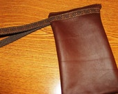 Chocolate Brown LEATHER Zip Wristlet w/Embroidered Trim