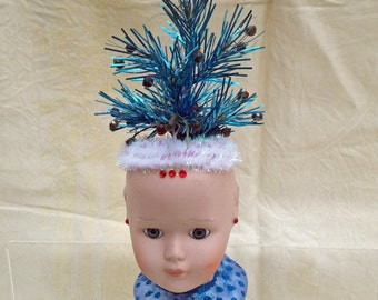 Doll Head with Christmas Tree