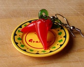 Miniature Red Chili Pepper Earrings - Hot, Hot, Hot Chili Pepper Danglies
