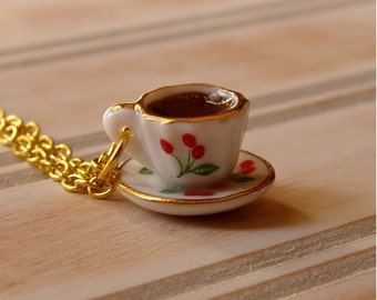 Miniature Teacup Necklace - Tiny Cherry Tea Cup - Cherry Teacup - Mini Tea Jewelry - Coffee Mug Necklace - Coffee Cup Necklace - Tea Cup