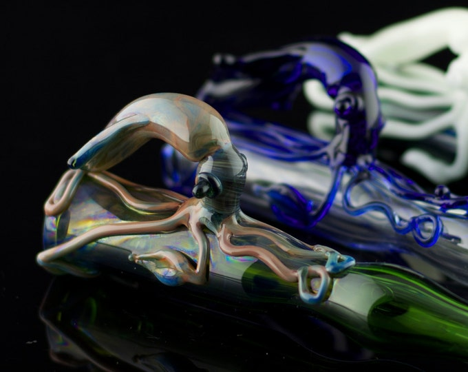 Squid Glass Pipe / Chillum Bat / American Made Glass / Tobacco Pipe Glass / Smoking Pipe / Boro Pipe / You Choose the Color / Made to Order