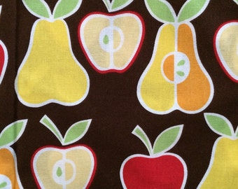 Alexander Henry Fabric, Apples and Pears, brown, red, yellow