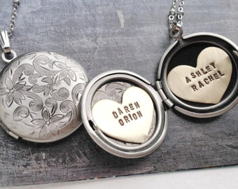 Personalized jewelry, name necklace, kids name for mom Heart locket New mom gift, new baby gift, Personalized name necklace