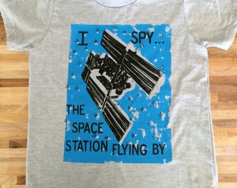 I Spy...The Space Station Flying By Hand Printed Shirt