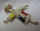 Scarecrow Brooch Gold Red Blue Yellow Vintage Pin Sarah Coventry
