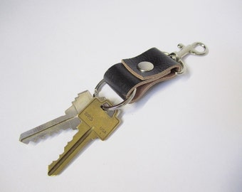 UPCYCLED Leather Keychain. Black Recycled Leather. Bag Accessory.