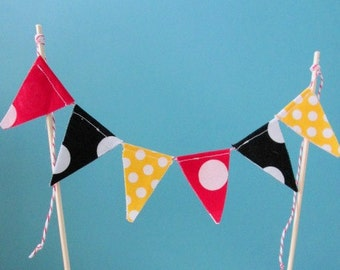 Mickey Mouse theme Fabric Bunting -Cake Bunting -Mini Birthday Banner -Cake Topper -1st Birthday -Mini Bunting -Cake Smash~INCLUDES DOWELS~