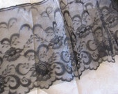 12 Inch Deep Black Scalloped Lace, 10 Yards new Vintage Black and White Wedding,Affair