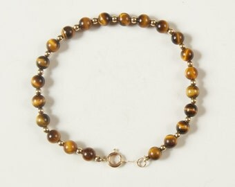SALE WAS 49 Sweet Tiger Eye and 14K Yellow Gold Bead Bracelet rsb