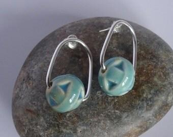 Urban, modern, Sterling Silver and seafoam green handmade ceramic bead earrings