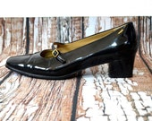 Black Mary Janes 8 1/2 - Mary Jane Shoes - Patent Leather Shoes - Low Heels - Womens Size 8.5 Shoes