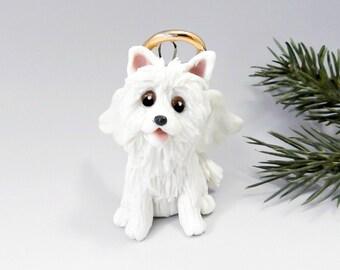 Angel American Eskimo Dog  Christmas Ornament Figurine Porcelain