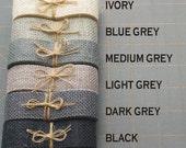 I inch GREY BLACK or IVORY burlap ribbon
