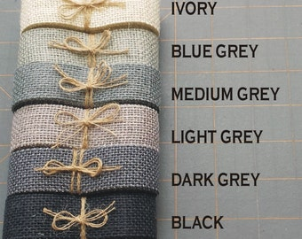I inch GREY BLACK or IVORY burlap ribbon