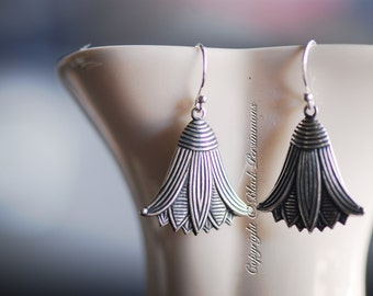 RENGE Earrings - Sterling Silver Plated Brass Lotus Flower Feng Shui Lian Hua Stampings - 2 Ear Wire Options - Insurance Included