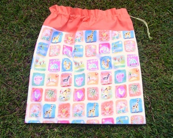 Drawstring bag for library, toys, kindy sheets, African animals, large orange bag