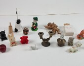 Vintage bunch of different miniatures 20 in total apple bears eagle candelabra and more