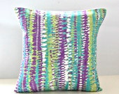 18 inch decorative pillow cover jade green, white abstract stripe cushion cover