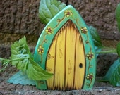Fairy Door Fridge Magnet, Gnome Door Magical Portal 2 1/2 inch,  Green and Yellow with Yellow Flowers