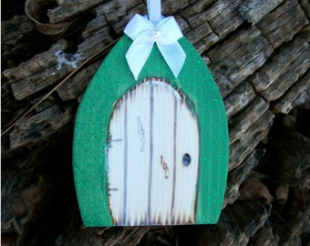 Green Gothic Fairy Door Gift Tag or Christmas Tree Ornament 2 1/2 inches tall with Bow and Glitter