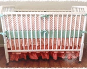 Coral and Mint Custom Crib Baby Bedding Set Ombre 2 or 3 Tier Ruffled Crib Skirt