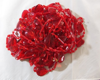 Vintage 1970's Red Plastic Curtain Beads,